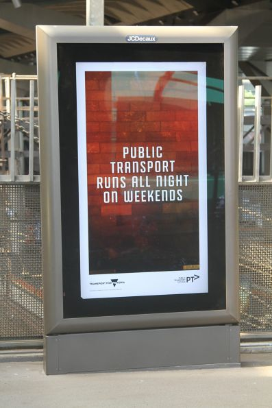 'Night Network' promotion on a JCDecaux screen at Southern Cross Station