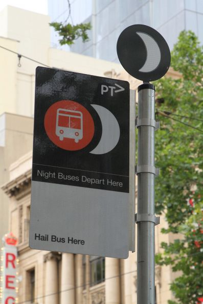 Proper 'Night Bus' sign has replaced the generic PTV sign at Collins and Swanston Street