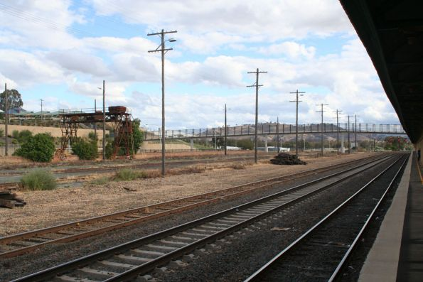 Looking south to a mess of disused sidings at Albury