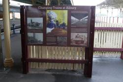 'Changing trains at Albury' display on the station platform