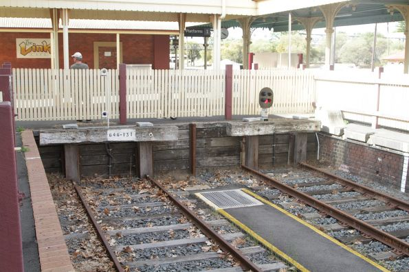 Dead end dock platform facing the Victorian end of Albury station