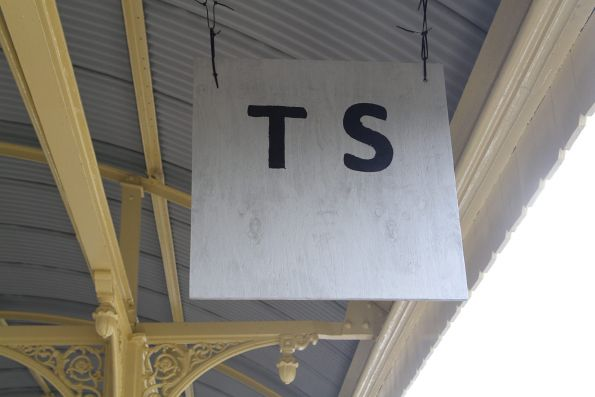 Temporary XPT stop board at Albury station
