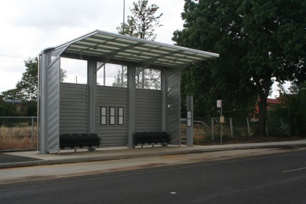 One of the new and useless bus shelters at Benalla