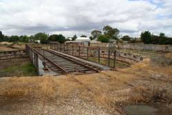Broad gauge turntable at Benalla, SG line is behind the concrete wall