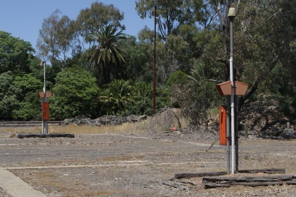 Power sockets and fire extinguishers in the former way and works campsite at Benalla