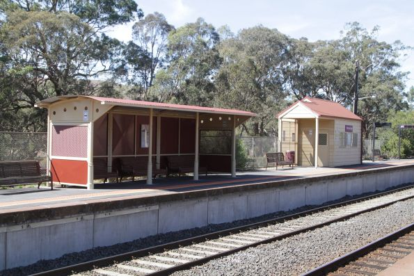 Passenger shelters on platform 1 at Kilmore East