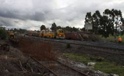 Work on slewing the northbound Goulburn Valley track onto the former Albury BG line at Seymour