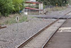 XPT stopping mark at the up end of the Seymour standard gauge platform