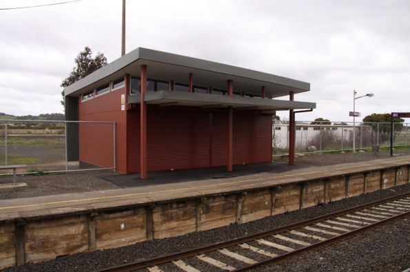 New waiting room on the up platform at Wallan, roller shutters in the down position