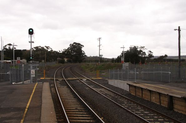 New down departure signal and pedestrian crossing at Wallan