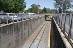 Looking up the original standard gauge line in the cutting at Wangaratta station