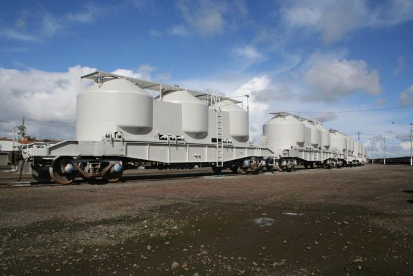 PN's latest export traffic at North Geelong Yard - cement hoppers repainted before they go to NSW