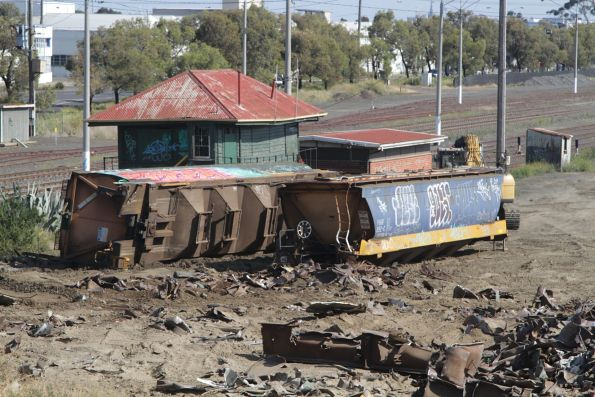 Pair of VHGY grain wagons waiting to be scrapped at North Geelong Yard