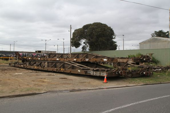 Container wagons off rail at the Fyansford line stub, ready to be taken away by road