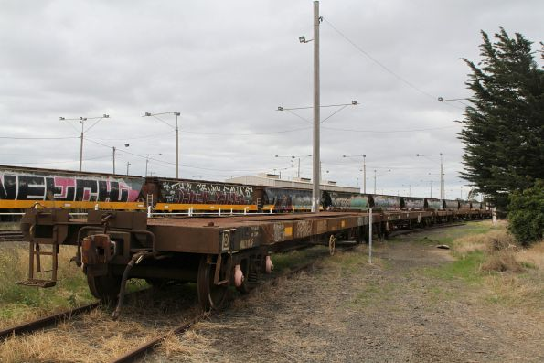 Container wagons on the Fyansford line stub, ready to be lifted off their bogies and moved away by road