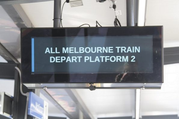 'All Melbourne train depart platform 2' notice at McKinnon station