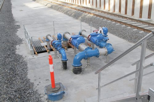 Pipework serving sump pumps for the rebuilt low level station at McKinnon