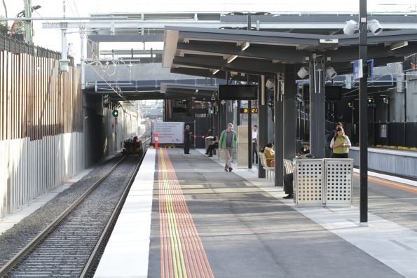 Booked out 'up' track at the recently reopened McKinnon station