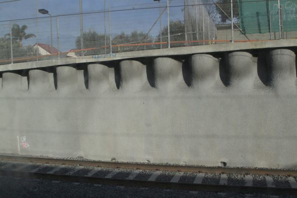 Fresh shotcrete covered walls at Ormond station