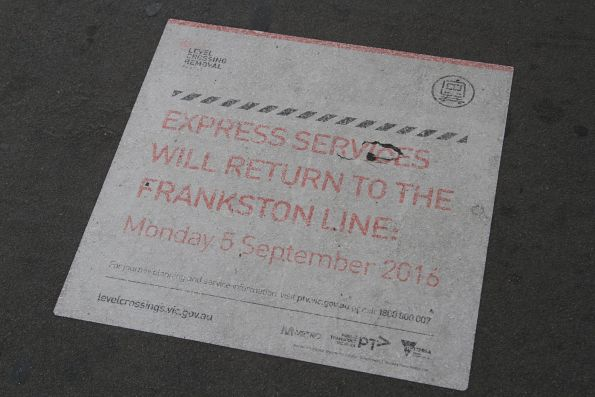 Faded 'Express services will return to the Frankston line, 5 September 2016' notice at Flinders Street Station
