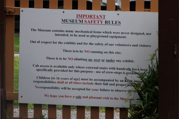 Safety rules posted at the entrance of the museum