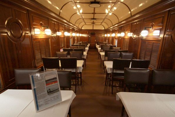 Inside Commonwealth Railways dining car DA 52 as used on the 'Trans Australian'