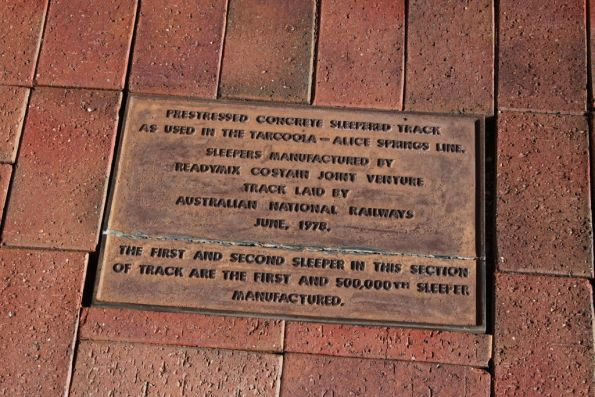 Plaque marking the first and 500,000 concrete sleepers produced for the AN's Tarcoola - Alice Springs line