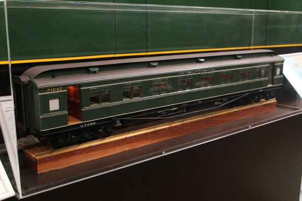 Large scale model of a green liveried The Overland sleeping car