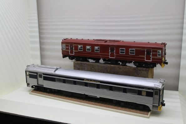 Large scale models of Redhen and Bluebird railcars