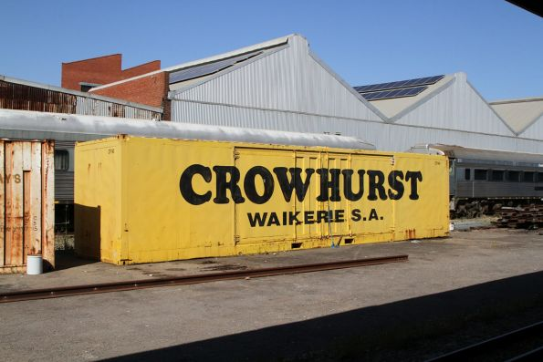 'Crowhurst' container stored behind the museum