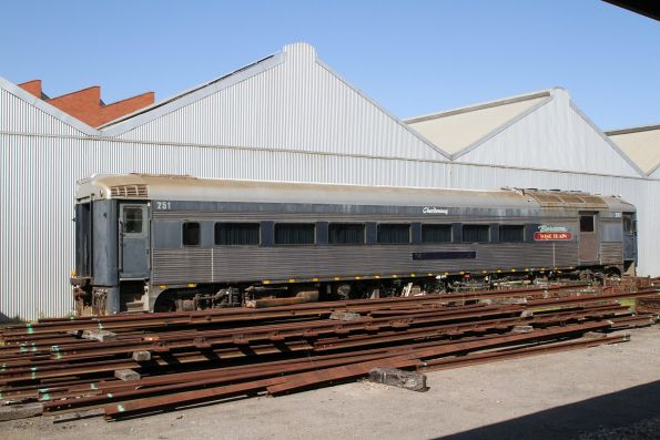 Bluebird railcar 251 from the Barossa Wine Train still stored behind the museum
