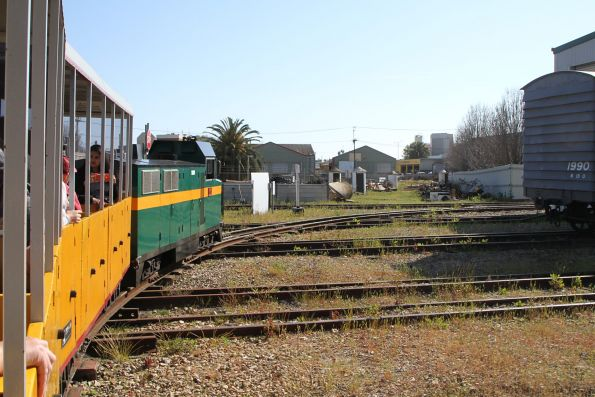 Riding the miniature railway over the track lead to the museum