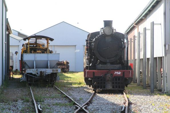 Steam locomotive 752 outside the sheds