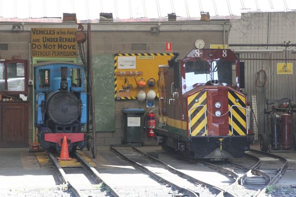 Steam engine 'Bub' and new build diesel locomotive #8 inside the museum workshop