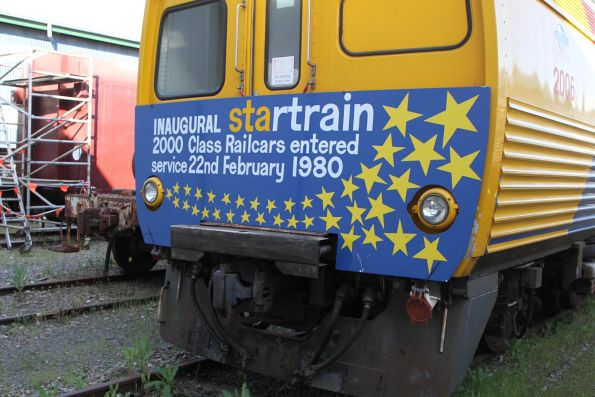 'Inaugural STArtrain' headboard fixed to the front of a 2000 class 'Jumbo' railcar