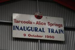 Headboard from the inaugural Tarcoola - Alice Springs service on 9 October 1980