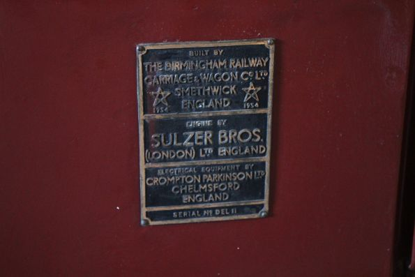 Builders plate on Commonwealth Railways NSU class diesel electric locomotive NSU61
