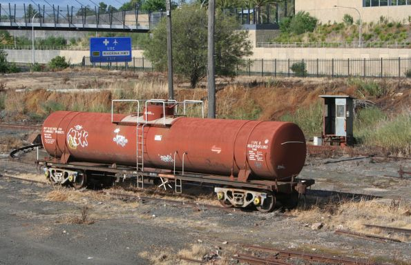 NSWGR fuel tanker L 657 stabled beside the turntable at Albury