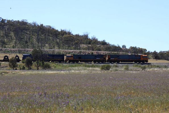 NR79, NR31 and NR27 lead the southbound train through the Bethungra Spiral