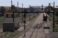The steel train gets back on the move after a crew change at Junee
