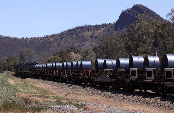 Coil steel wagons underneath The Rock