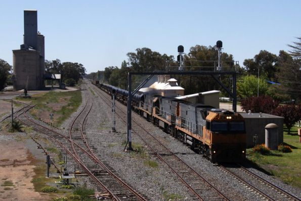 NR79, NR31 and NR27 running through Culcairn on a southbound steel train
