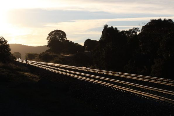 Sun sets over the double track at Jerrawa