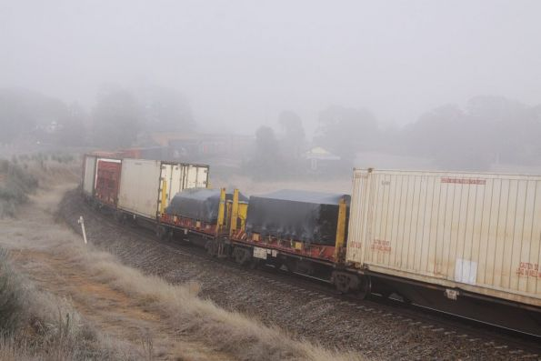 Container wagons disappear into the fog