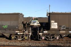 Two grain trains side by side at Junee