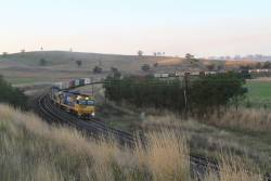 NR70 leads NR52 and NR45 on a southbound PN intermodal service at Jindalee