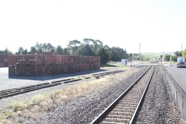 Ore concentrate containers stored in the Linfox yard at Blayney