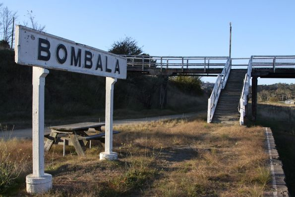Station nameboard and footbridge