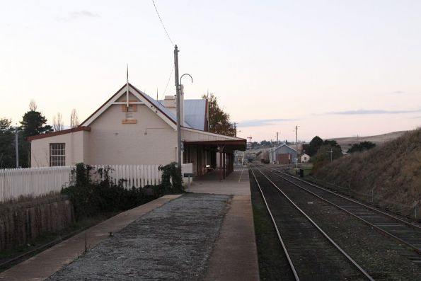 Looking up the yard towards the station building
