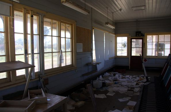 Documents strewn everywhere in the signal box at Cootamundra West
